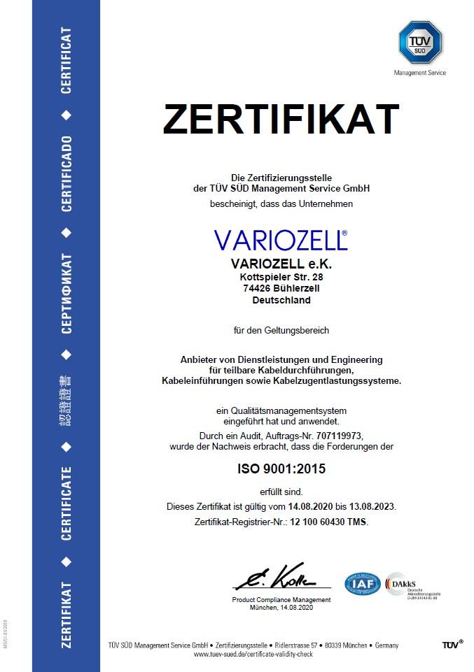 Deutsches ISO 9001 Zertifikat